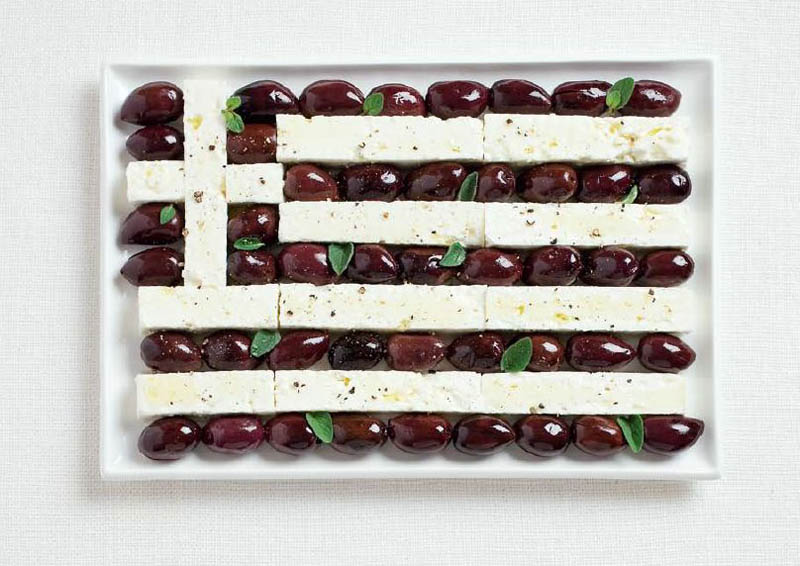 national flags made from each country's traditional foods, Greece