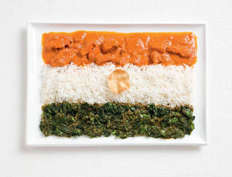 national flags made from each country's traditional foods, India