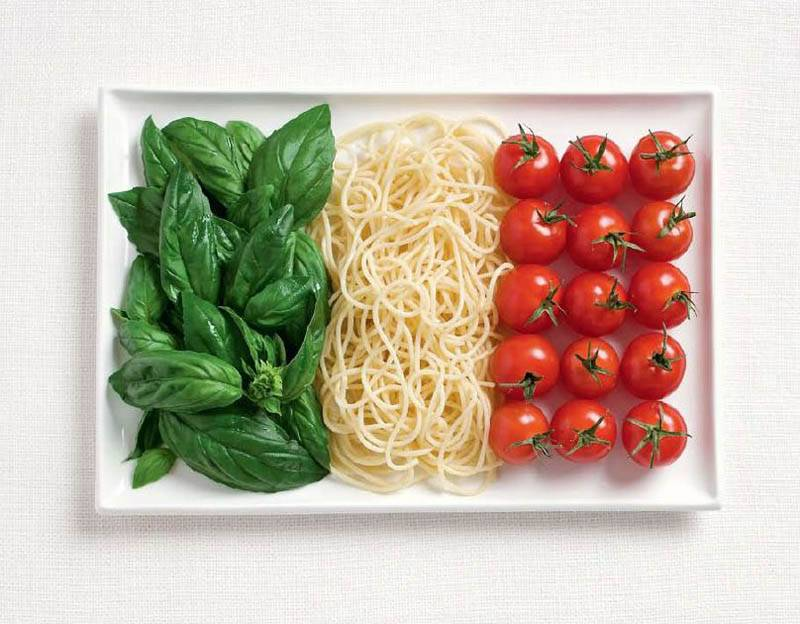 national flags made from each country's traditional foods, Italy