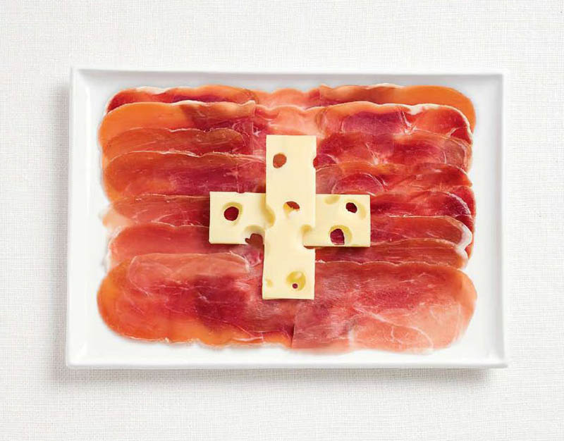 national flags made from each country's traditional foods, Switzerland