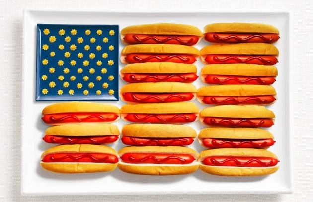 national flags made from each country's traditional foods, USA