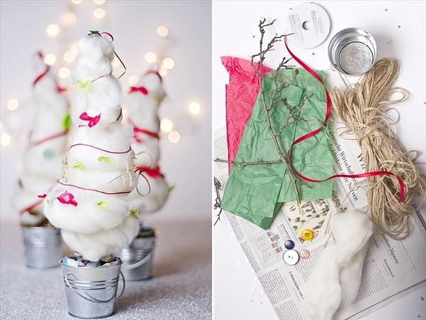DIY unusual christmas tree, cotton