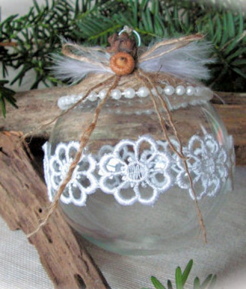 diy christmas ornament, rope and cotton lace