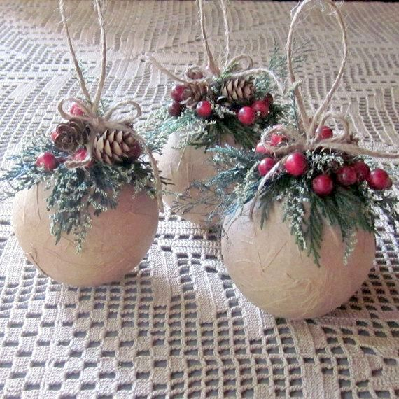 diy christmas ornament red berries - Burlap Christmas Decorations