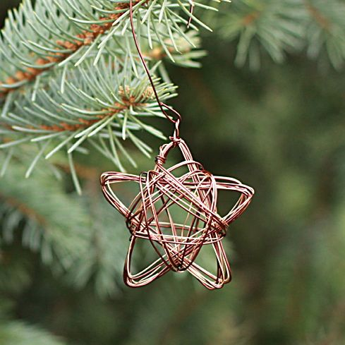 diy christmas ornament, wire star