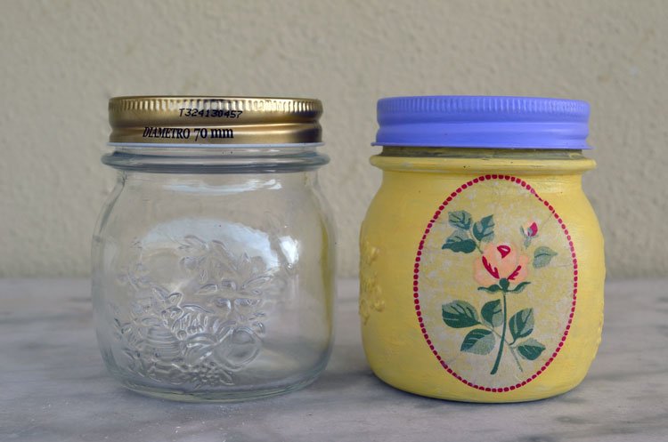 painted summer jars with decoupage technique 6