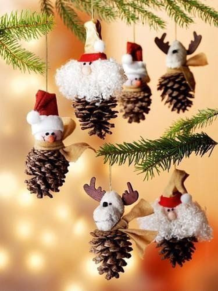 holiday homemade pinecone xmas ornaments 17 - Homemade Pine Cone Christmas Decorations
