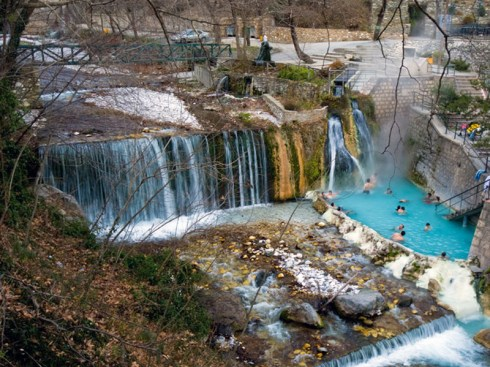 view from the top ot the hot springs Loutra Pozar , Aridaia Greece