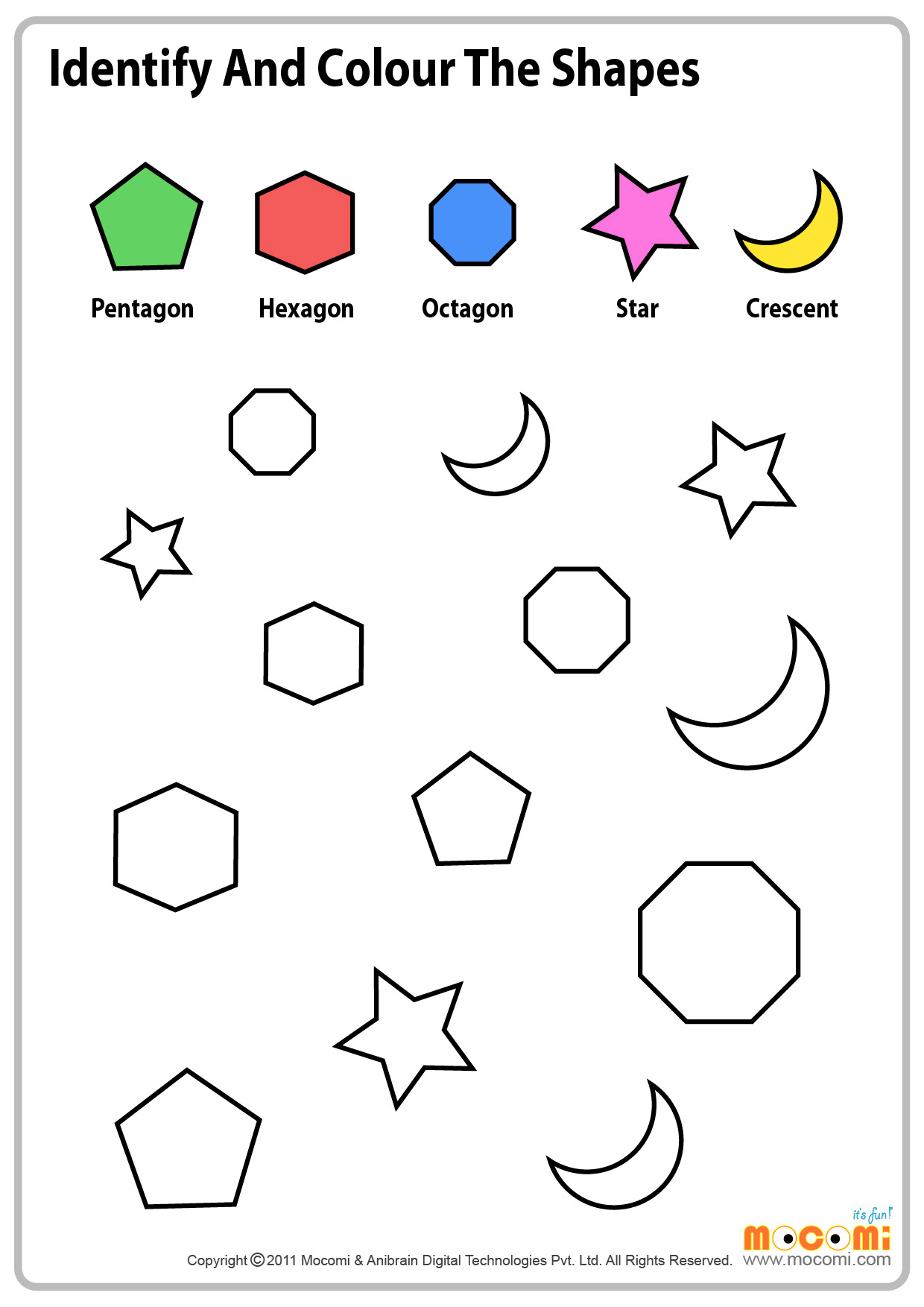 Coloring Shapes Worksheets