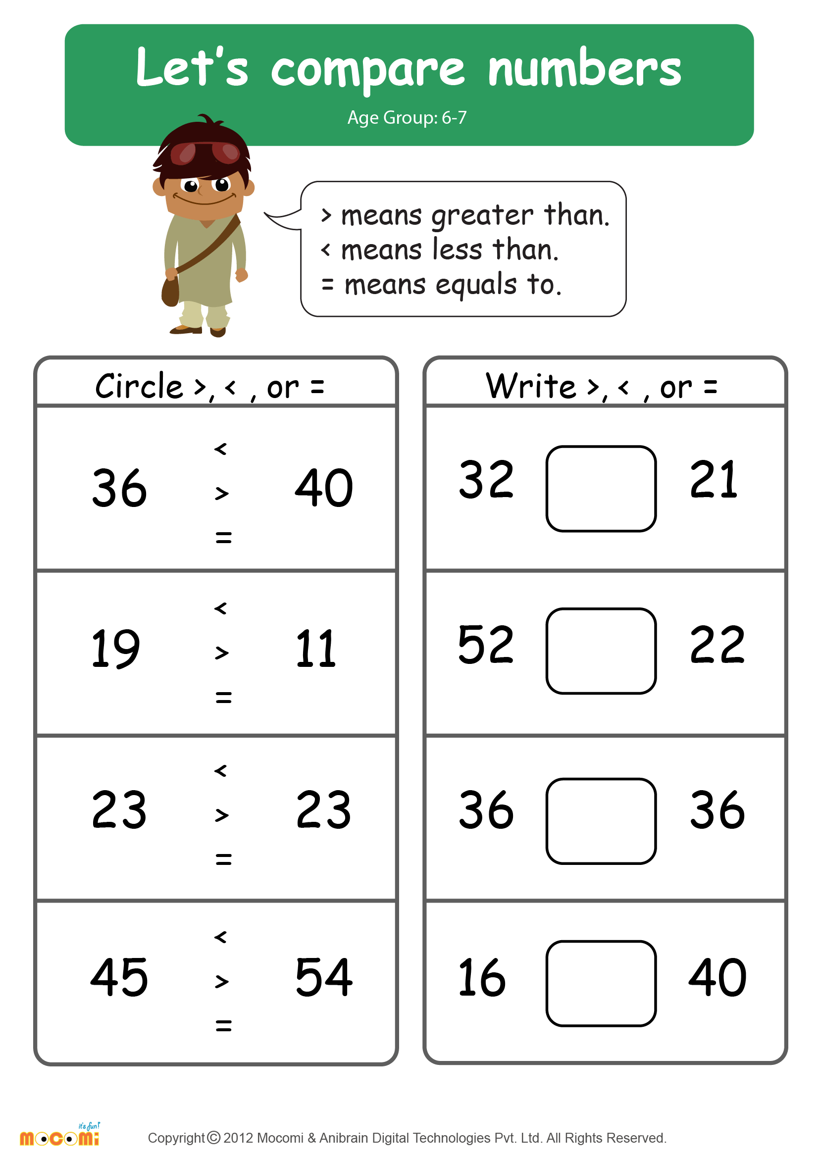 5 Digit Comparing Numbers Worksheet