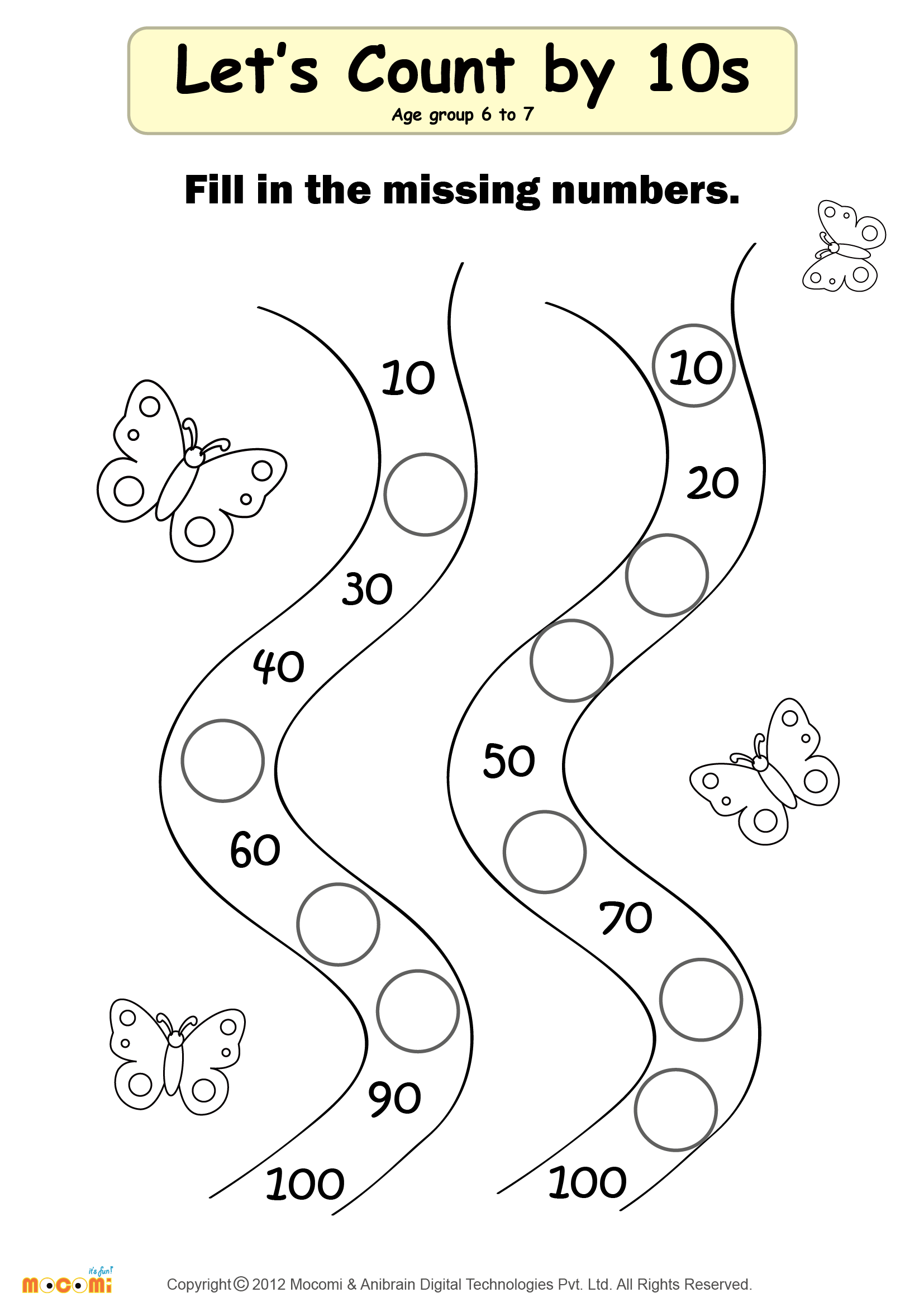 Missing Numbers Worksheet 02