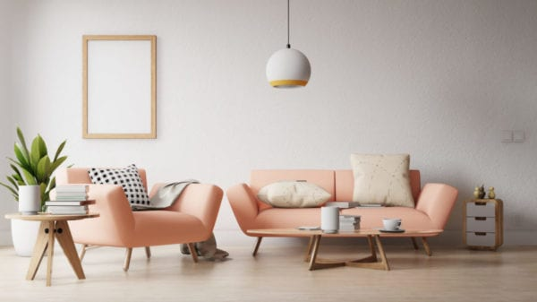 Image 3D montrant un salon classique rose pâle