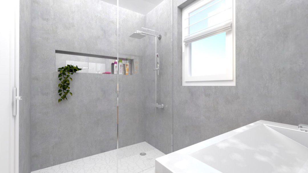 Image montrant une salle de bain déco brut modélisée en 3D en rendu réaliste vue 3