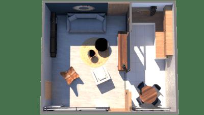 Image montrant la modélisation 3D en rendu réaliste d'un salon avec cuisine semi ouverte