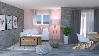 Image montrant un salon modélisée en 3D en rendu réaliste vue 3