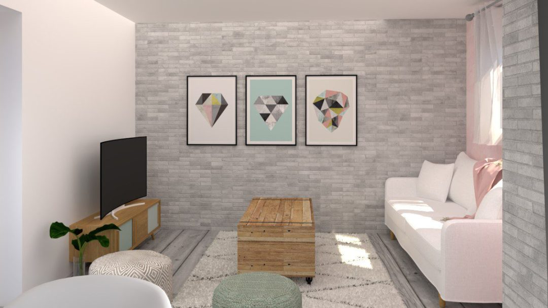 Image montrant un salon modélisée en 3D en rendu réaliste vue 2