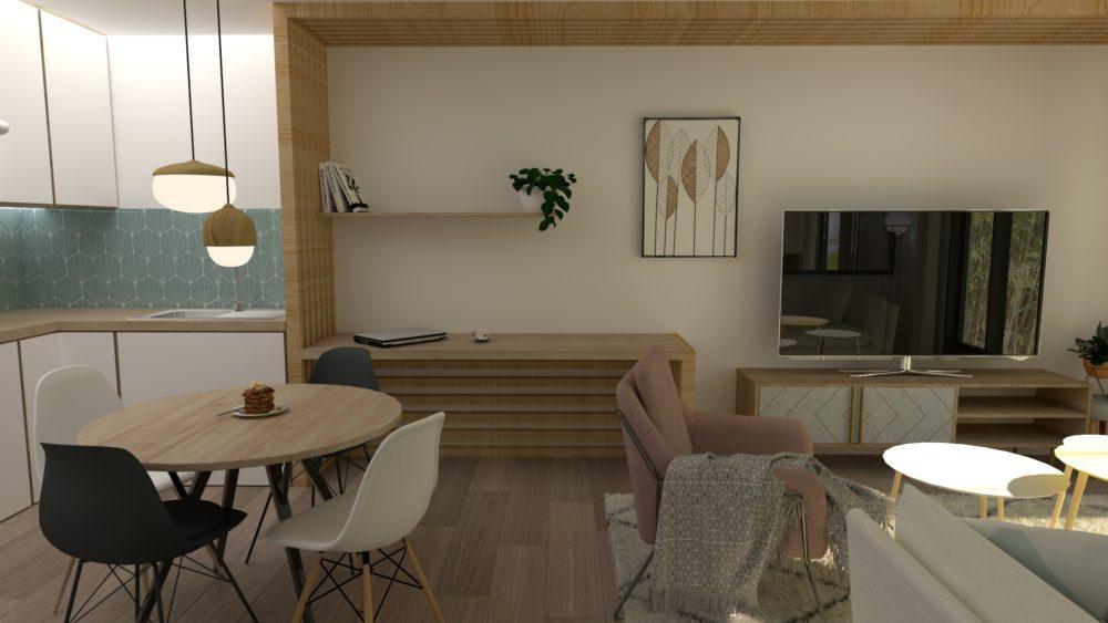 Image montrant une vue du salon salle à manger modélisée en 3D