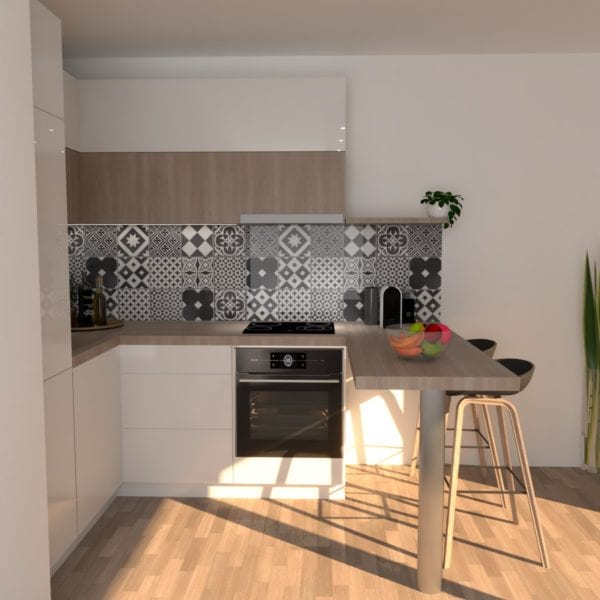 Image montrant la modélisation 3D d'une cuisine pour travaux