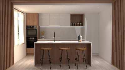 Image montrant la modélisation 3D d'une cuisine en marbre et bois