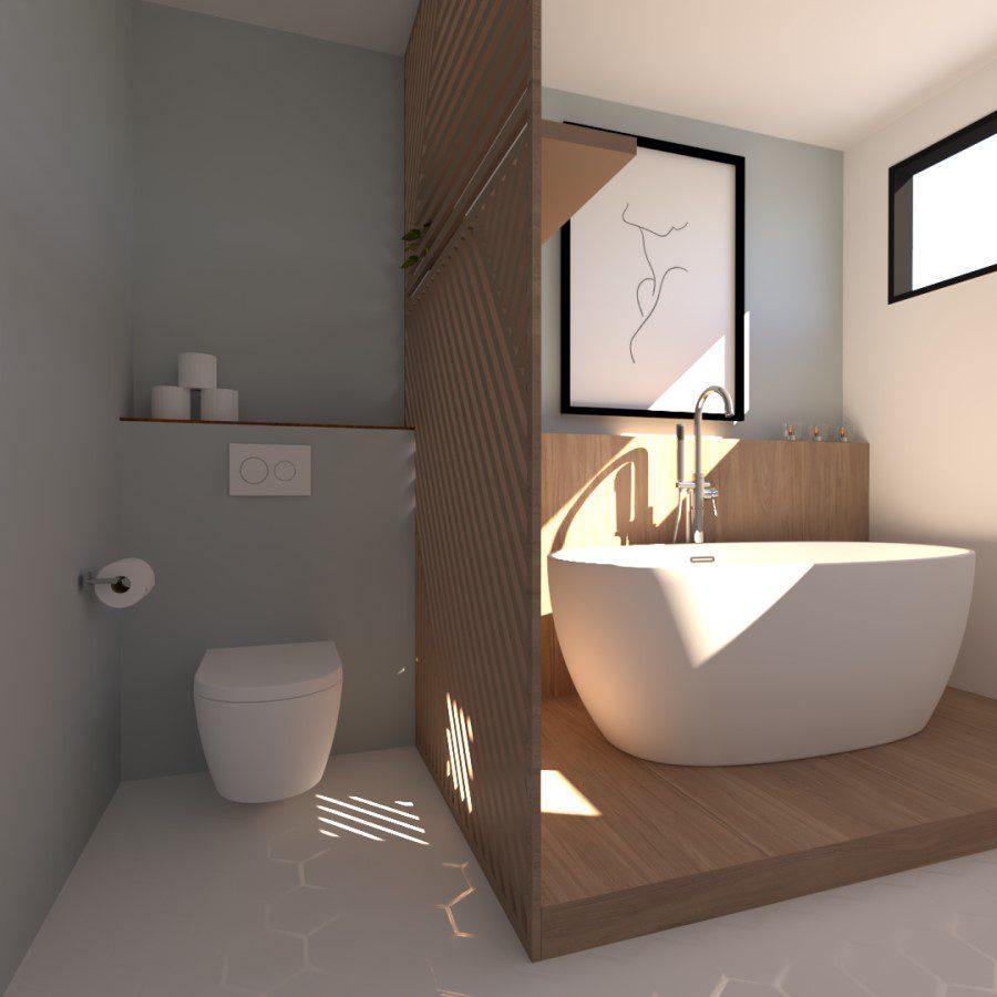 Image montrant une modélisation 3D d'une salle de bain avec toilettes