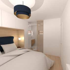Image montrant une vue d'une chambre parentale modélisée en 3D