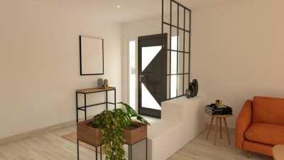 Image montrant la modélisation de la Décoration intérieure salon entrée