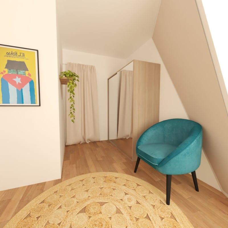 Image montrant un projet de décoration intérieure d'un bureau dressing en 3D