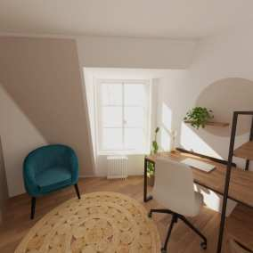 Image montrant un projet de décoration intérieure de bureaux dressing en 3D
