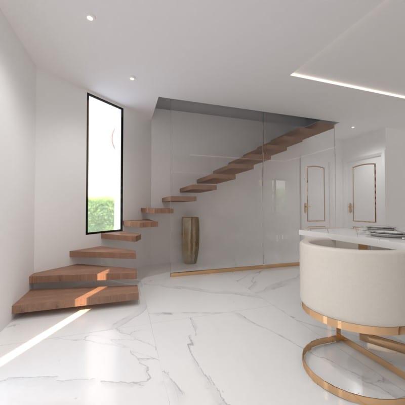 Image montrant la décoration intérieure d'un salon, salle à manger, entrée avec cheminée