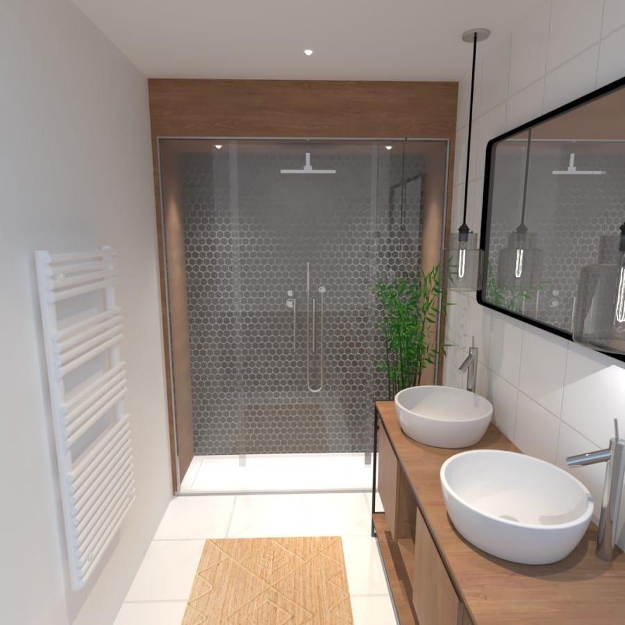 Image montrant une décoration intérieure de salle de bain après en 3D