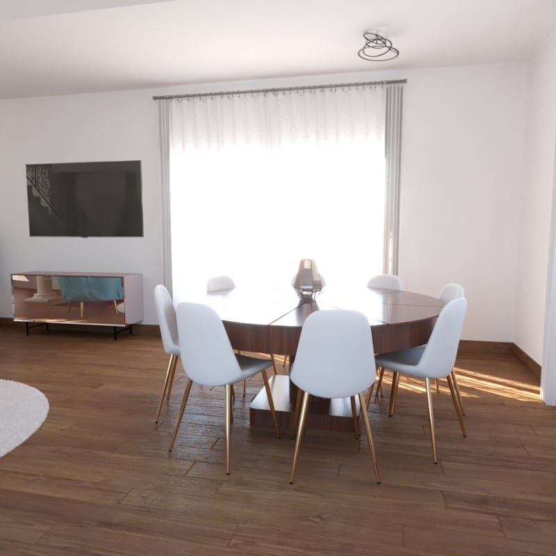 image montrant la réalisation de modélisation 3D d'un salon pour un projet de décoration intérieure