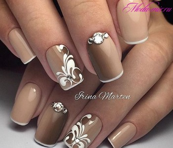 коричневые ногти дизайн 2
