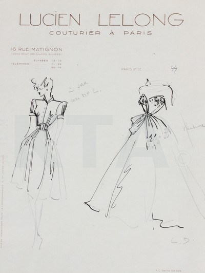 Christian Dior Schizzo per Lucien Lelong, 1944-45