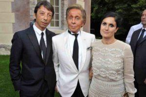 La stilista Maria Grazia Chiuri con Pierpaolo Piccioli e Valentino Garavani