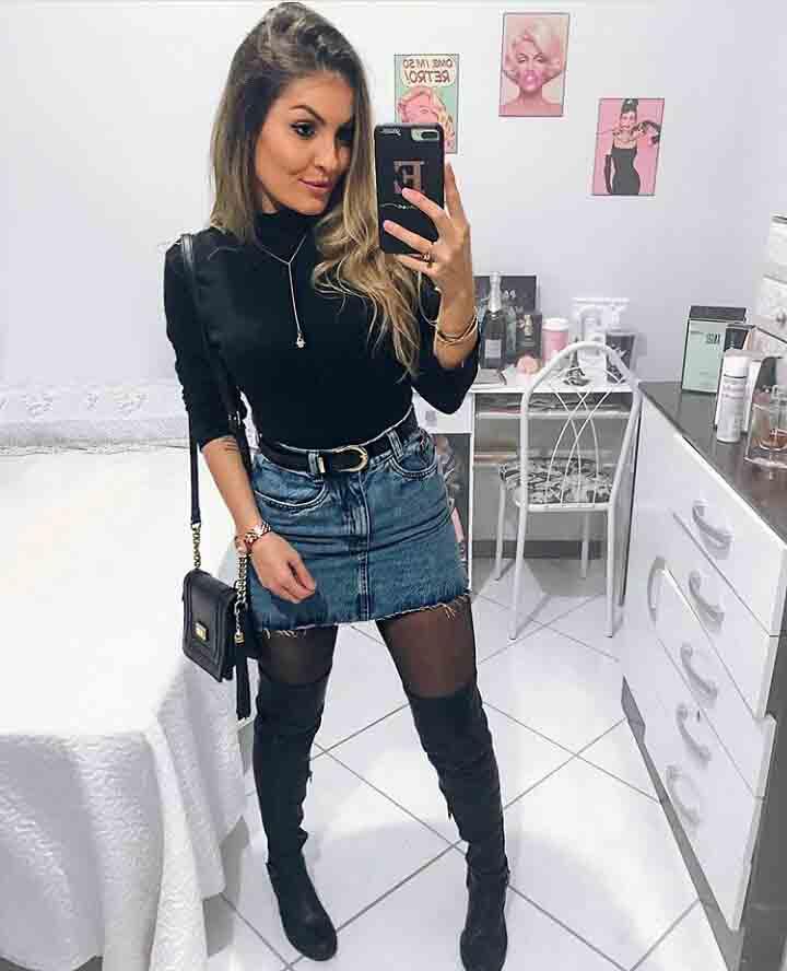 Look com Saia Jeans Noite
