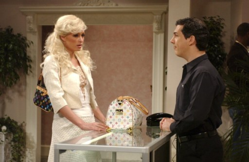 """SATURDAY NIGHT LIVE -- Episode 11 -- Aired 02/05/2005 -- Pictured: (l-r) Paris Hilton as Portia, Chris Parnell as Thomas the clerk during """"Purse Shopping"""" skit (Photo by Dana Edelson/NBC/NBCU Photo Bank via Getty Images)"""