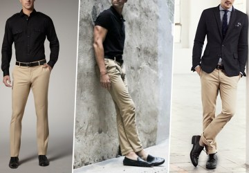 calça bege sapato preto