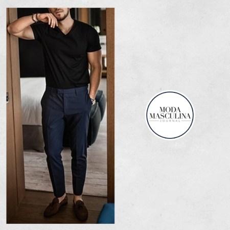 calça azul look masculino