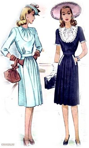 Мода на платья 40х годов в фото, фасонах и расцветках