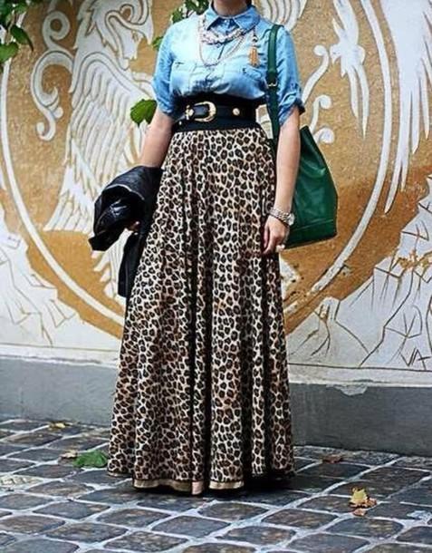 e33c5d37e917 Elastická pletená leopardová sukňa na podlahu - skvelá voľba na jeseň. Pre  obchodné image