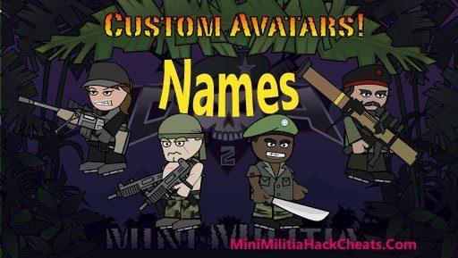Mini Militia Avatar Names List for Doodle Army 2 Game hack