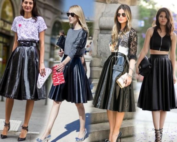 С чем носить кожаную юбку солнце модные луки 2017