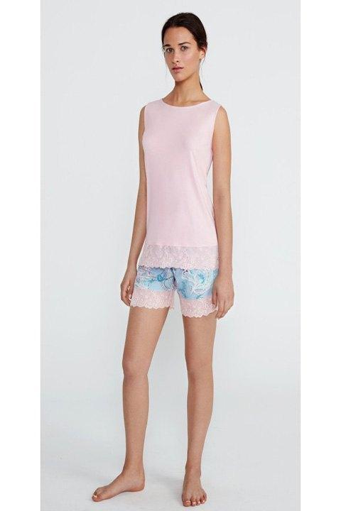 Pijama corto modal con pantalón estampado en cashmere.
