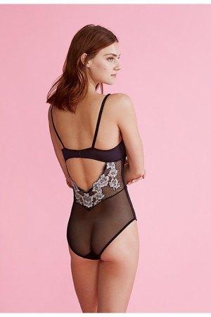 Body Juliette con abertura por la espalda de tul y encaje bicolor.