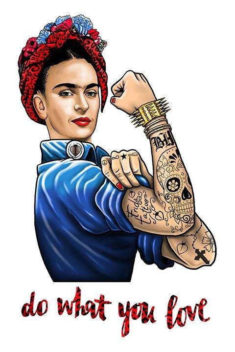 """Be happiness. Detalle de la imagen Frida kahlo con mensaje """"do what you love"""""""