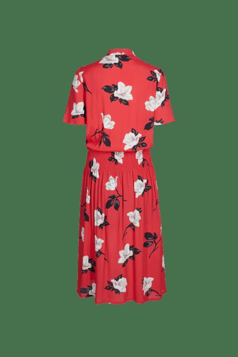 Freequent. Vestido Tinna de largo midi, manga corta y estampado floral sobre fondo rojo.