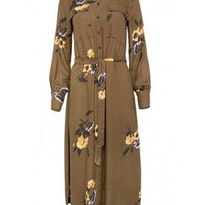 Freequent. Vestido Hoxy camisero de fondo caqui con flores mostazas.
