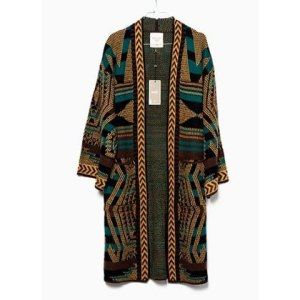 Meisïe. Kimono de punto con estampado étnico en tonos tierra.