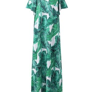 Bohemian Leaves Print Cold Shoulder Short Sleeve V-neck Maxi Dress