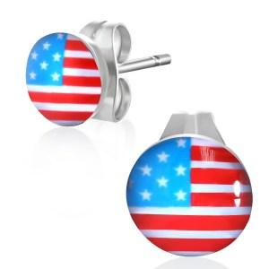 RVS heren oorbellen Flag Of The United States 7mm